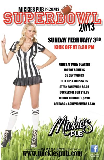 Superbowl party at Mickies Pub Kelowna
