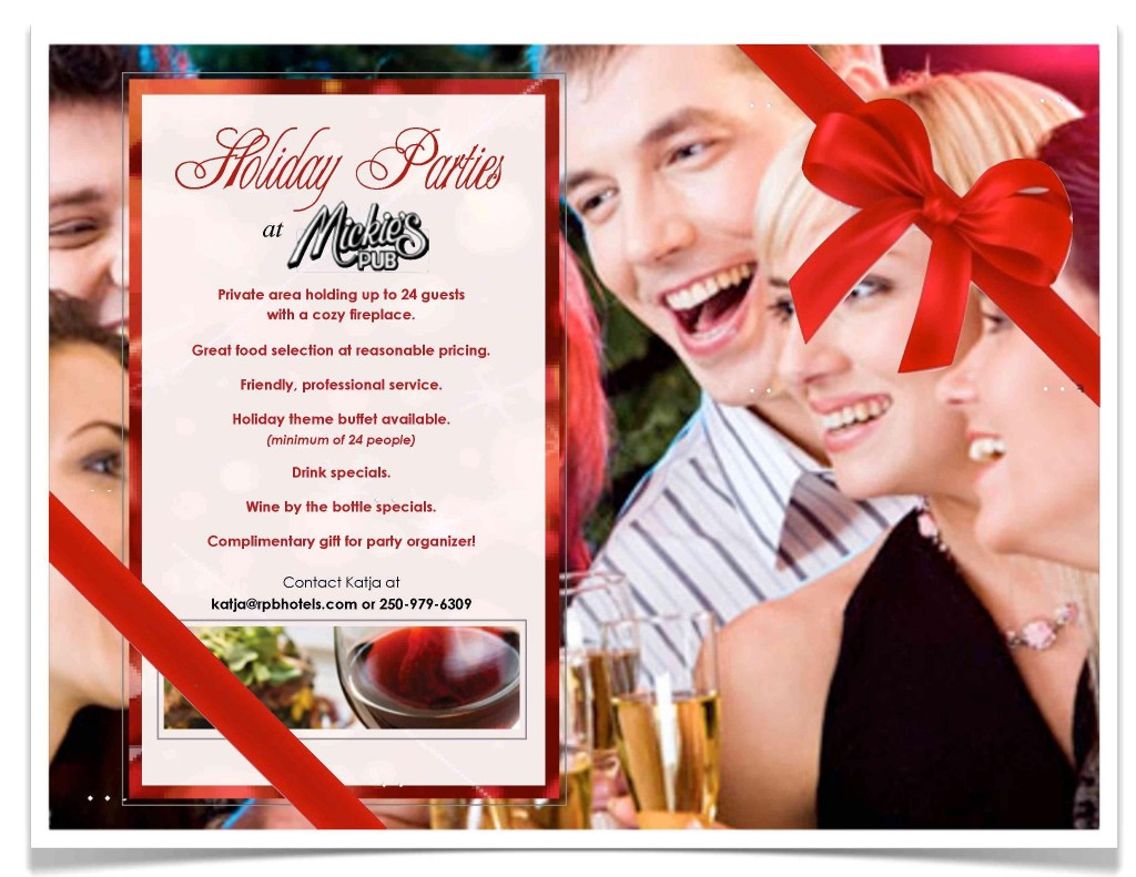 Holiday Parties At Mickie's Pub at Ramada Kelowna Hotels